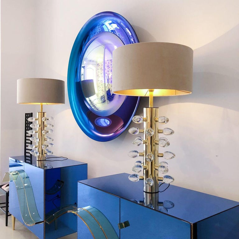 Contemporary Modern Concave Yellow and Blue Handmade Glass Mirror Sculpture For Sale 4