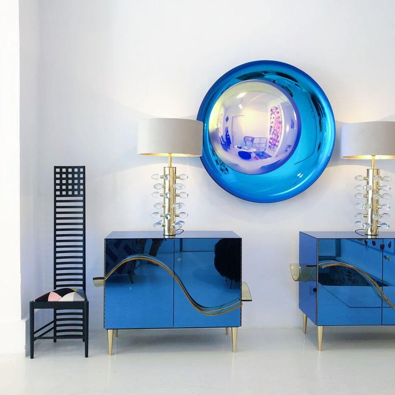Contemporary Modern Concave Yellow and Blue Handmade Glass Mirror Sculpture For Sale 5