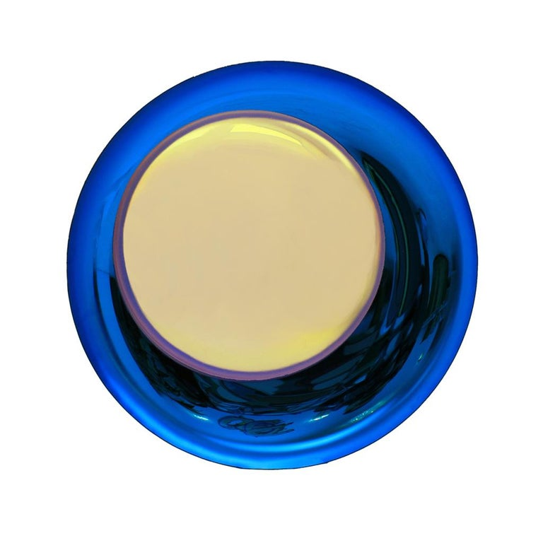 Mid-Century Modern Contemporary Modern Concave Yellow and Blue Handmade Glass Mirror Sculpture For Sale