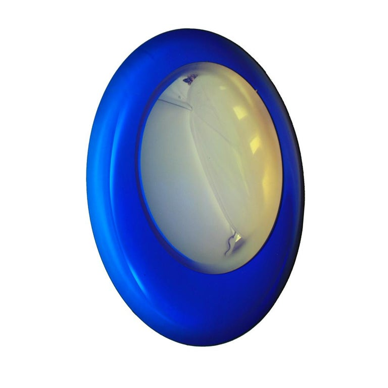 French Contemporary Modern Concave Yellow and Blue Handmade Glass Mirror Sculpture For Sale