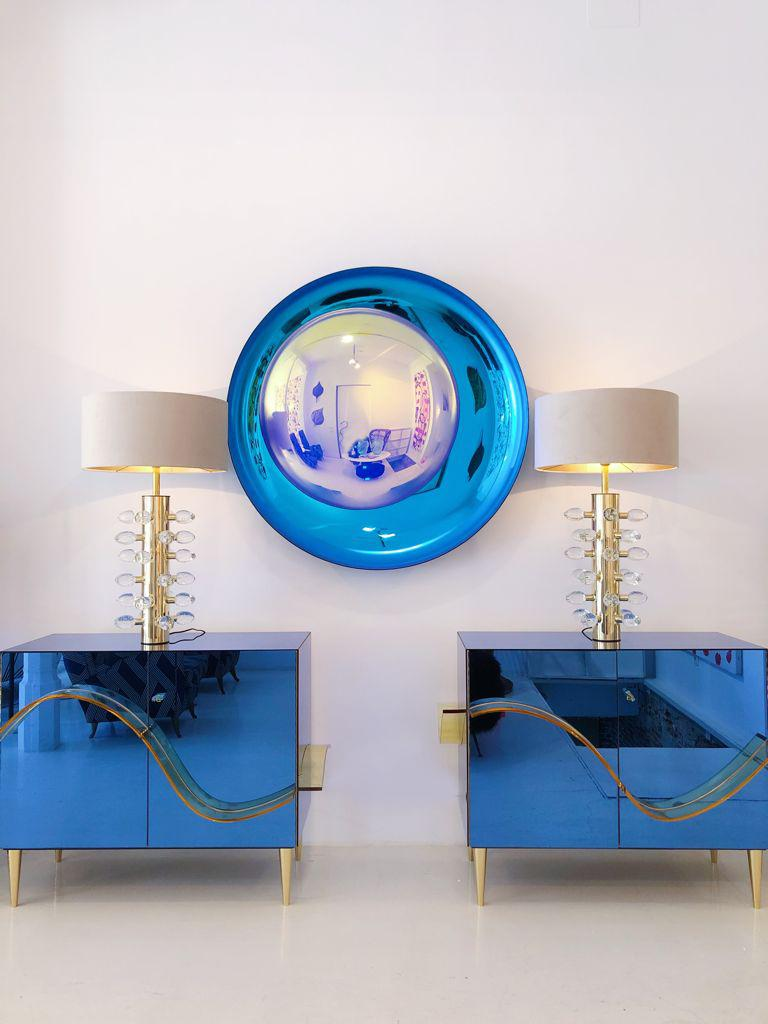 Contemporary Modern Concave Yellow and Blue Handmade Glass Mirror Sculpture For Sale 3