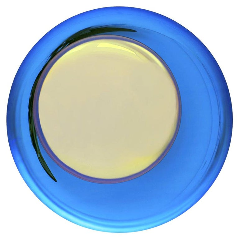 Contemporary Modern Concave Yellow and Blue Handmade Glass Mirror Sculpture For Sale