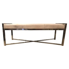 Contemporary Modern Cow Hide Chrome Three Seat Bench