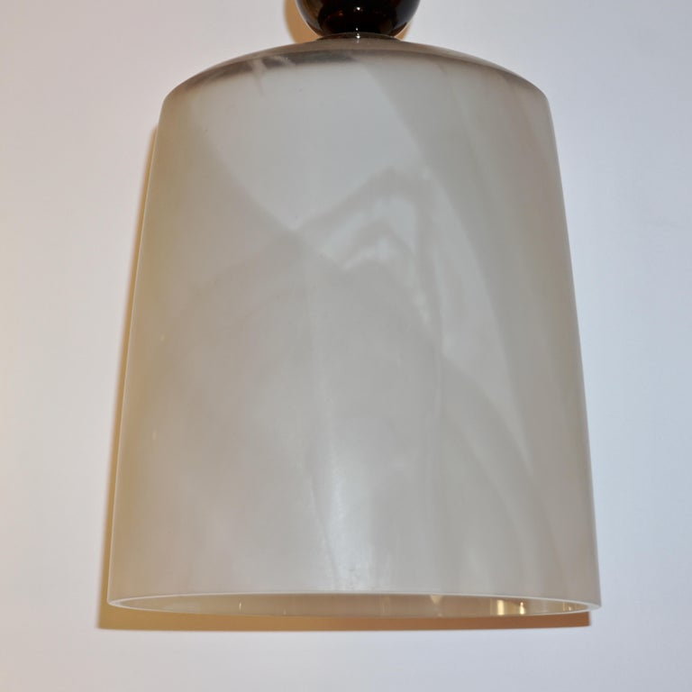 Art Glass Contemporary Modern Crystal Black and Alabaster Murano Glass Brass Pendant Light For Sale