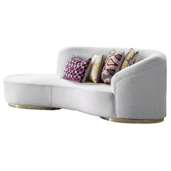 Contemporary Modern Curved White Linen and Brass Italian Sofa