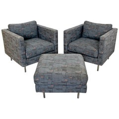 Contemporary Modern Custom Pair of Cube Club Lounge Armchairs and Ottoman, 1980s