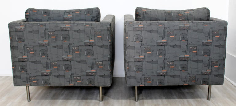 Contemporary Modern Custom Pair of Cube Club Lounge Armchairs and Ottoman, 1980s For Sale 5