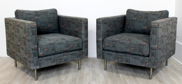 Fabric Contemporary Modern Custom Pair of Cube Club Lounge Armchairs and Ottoman, 1980s For Sale