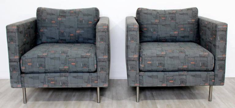 Contemporary Modern Custom Pair of Cube Club Lounge Armchairs and Ottoman, 1980s For Sale 1