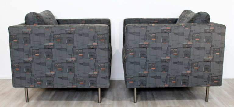 Contemporary Modern Custom Pair of Cube Club Lounge Armchairs and Ottoman, 1980s For Sale 3