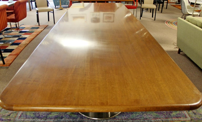 Contemporary Modern Custom Walnut Chrome Dining Conference Table Pace Style In Good Condition In Keego Harbor, MI