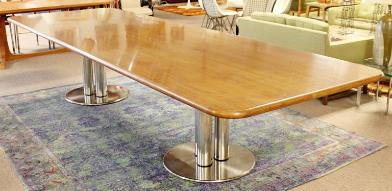 Contemporary Modern Custom Walnut Chrome Dining Conference Table Pace Style 1