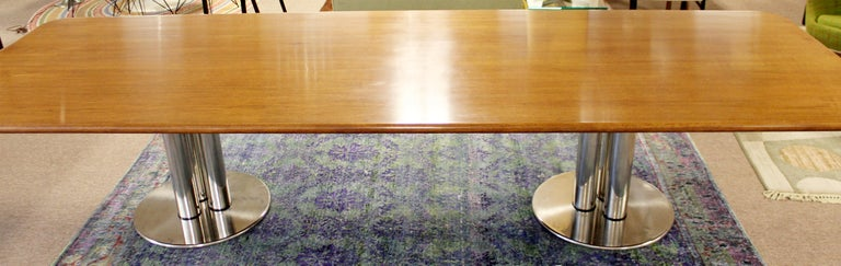 Contemporary Modern Custom Walnut Chrome Dining Conference Table Pace Style 2
