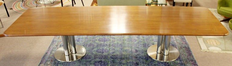 Contemporary Modern Custom Walnut Chrome Dining Conference Table Pace Style 3