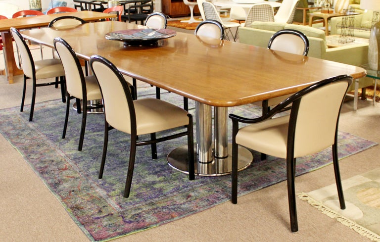 Contemporary Modern Custom Walnut Chrome Dining Conference Table Pace Style 4