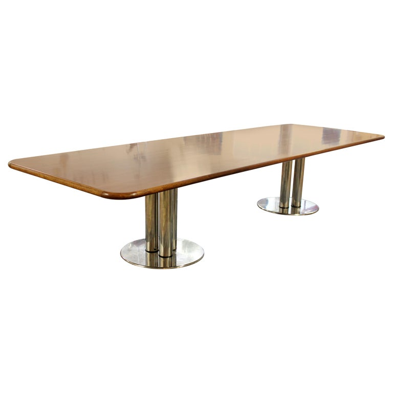 Contemporary Modern Custom Walnut Chrome Dining Conference Table Pace Style