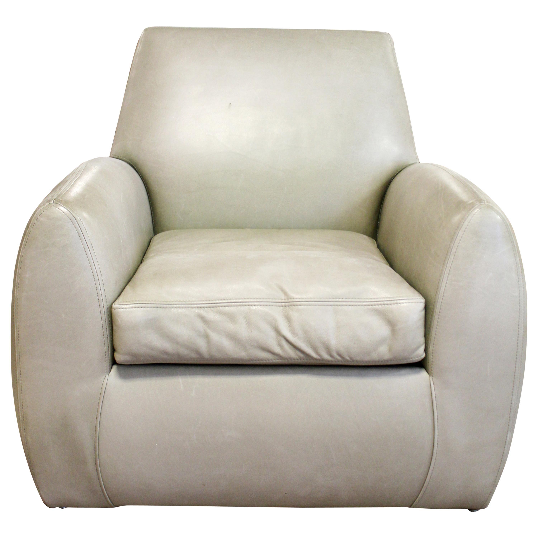 Contemporary Modern Dakota Jackson Gray Leather Club Armchair, 1980s