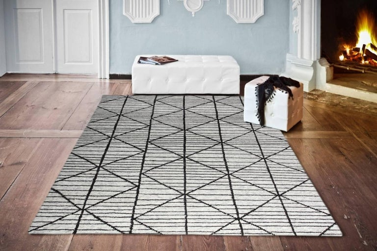 Indian Contemporary Modern Design Rug Hand-Knotted Beige Grey Brown Moroccan Inspired  For Sale
