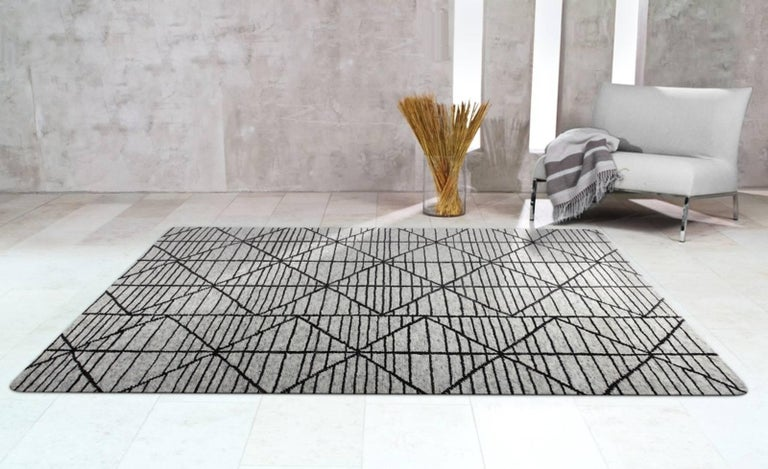 Wool Contemporary Modern Design Rug Hand-Knotted Beige Grey Brown Moroccan Inspired  For Sale