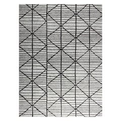 Contemporary Modern Design Rug Hand-Knotted Beige Grey Brown Moroccan Inspired