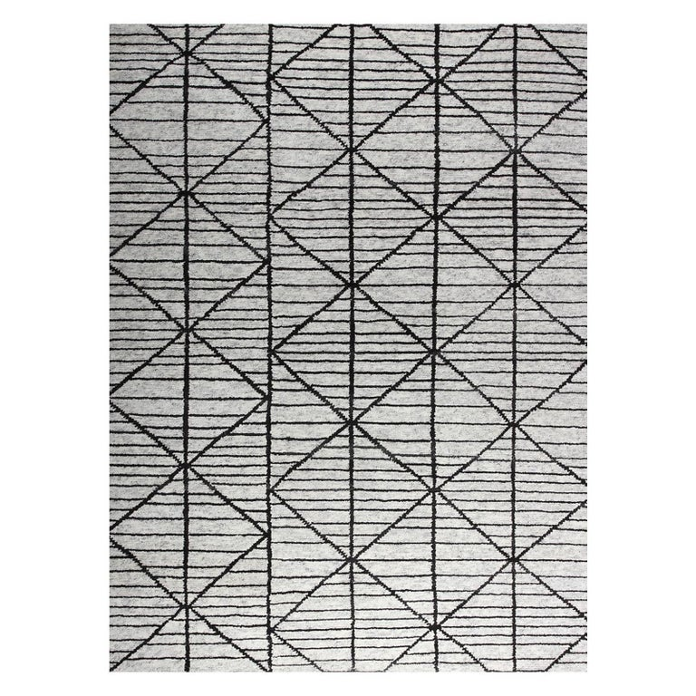 Contemporary Modern Design Rug Hand-Knotted Beige Grey Brown Moroccan Inspired  For Sale