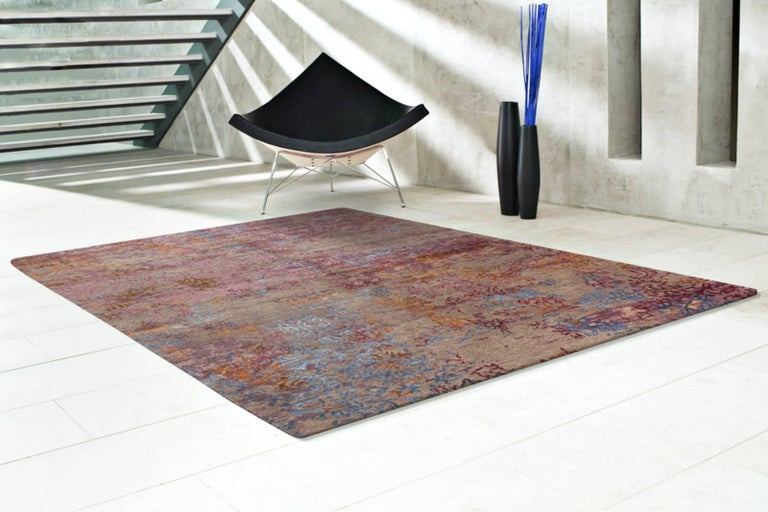 Indian Contemporary Modern Design Rug Hand Knotted Grey Rose Blue For Sale
