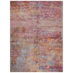 Contemporary Modern Design Rug Hand Knotted Grey Rose Blue