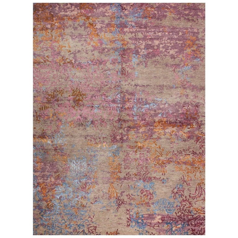 Contemporary Modern Design Rug Hand Knotted Grey Rose Blue For Sale
