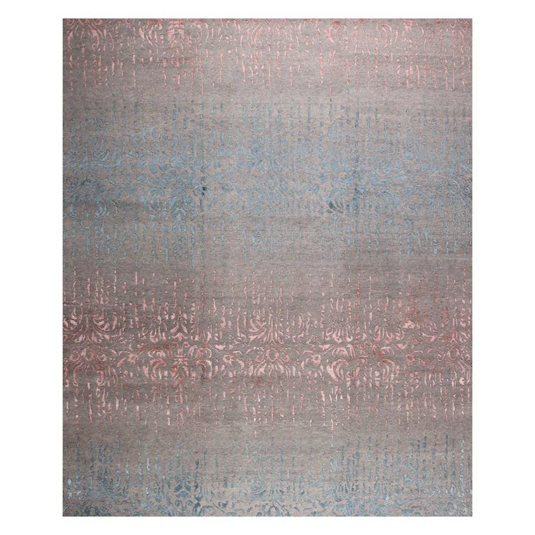 Contemporary Modern Design Rug Hand-Knotted Grey Rose Blue