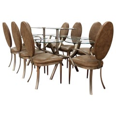 Contemporary Modern DIA Circle of Life Dining Set Table Chairs 1980s Glass Steel