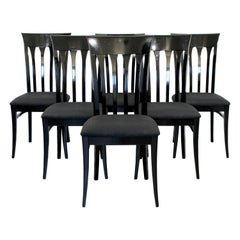 Contemporary Modern Ello Set of 6 Black Lacquer Side Dining Chairs, 1980s