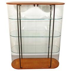 Contemporary Modern Erre Cherrywood Glass Shelving Unit Vitrine Étagère Display