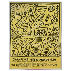 Contemporary Modern Famed Offset Lithograph Signed Keith Haring 1984 Yellow