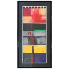 Contemporary Modern Framed Abstract Acrylic Painting Artist Signed Mi Young Lee