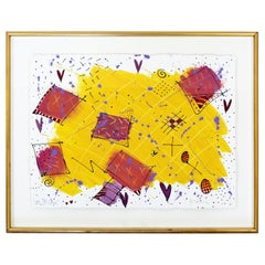 Contemporary Modern Framed Acrylic Abstract Painting Signed Jo Rosen, 1980s