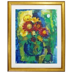Contemporary Modern Framed Acrylic Floral Painting Signed Susan Bolt Still Life