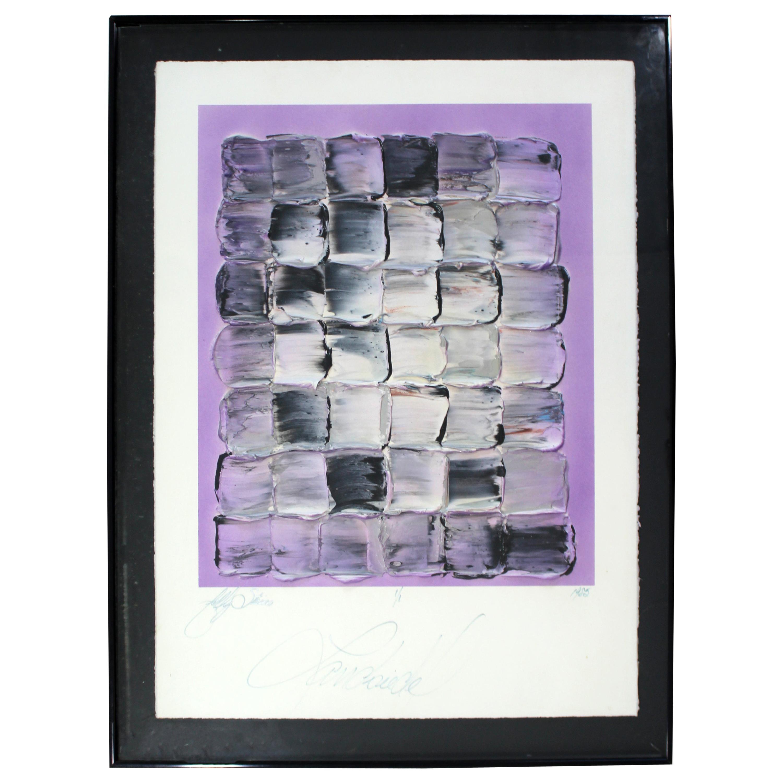 Contemporary Modern Framed Acrylic Painting Signed John Landsiedel 1985 Purple