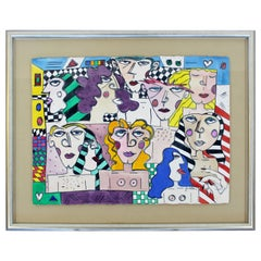Contemporary Modern Framed Acrylic Portrait Painting Signed Jo Rosen Late 1980s
