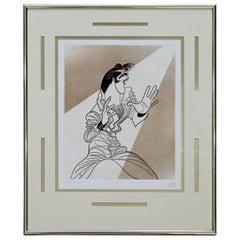 Contemporary Modern Framed Al Hirschfeld Elvis Signed Etching 1993 w COA