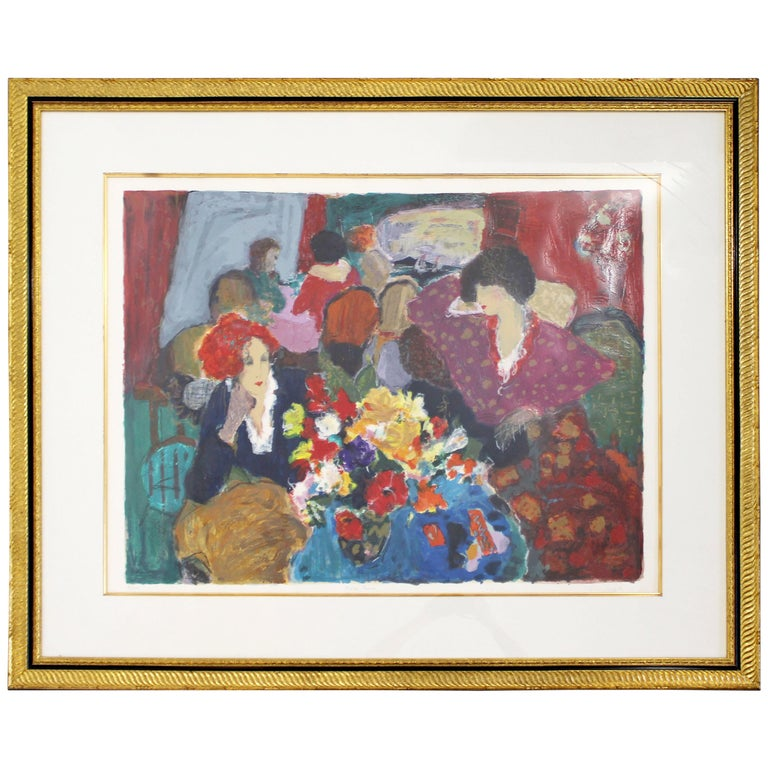 Contemporary Modern Framed Cafe Cresp Roy Woodard Fairchild Litho Signed 87/350 For Sale