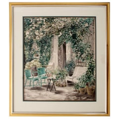 Contemporary Modern Framed Cafe Scene Lithograph Signed by Artist 292/300