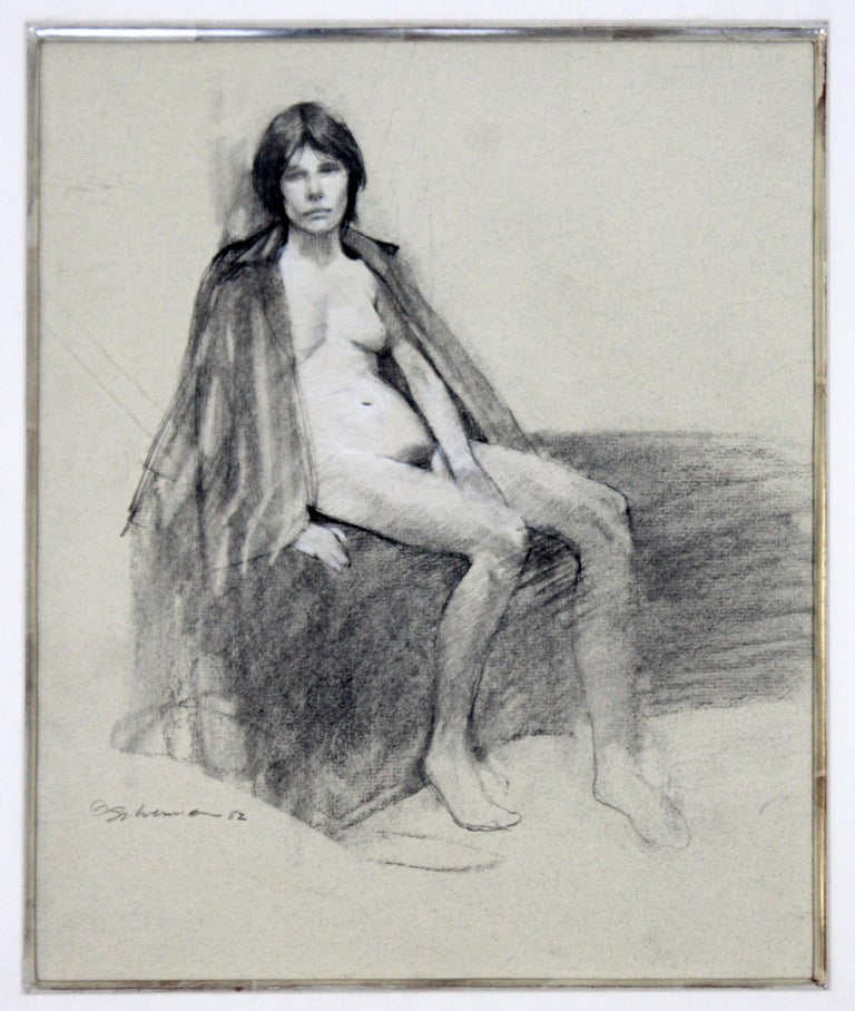 Contemporary Modern Framed Charcoal Drawing Signed Burt Silverman 1982 Nude In Good Condition For Sale In Keego Harbor, MI