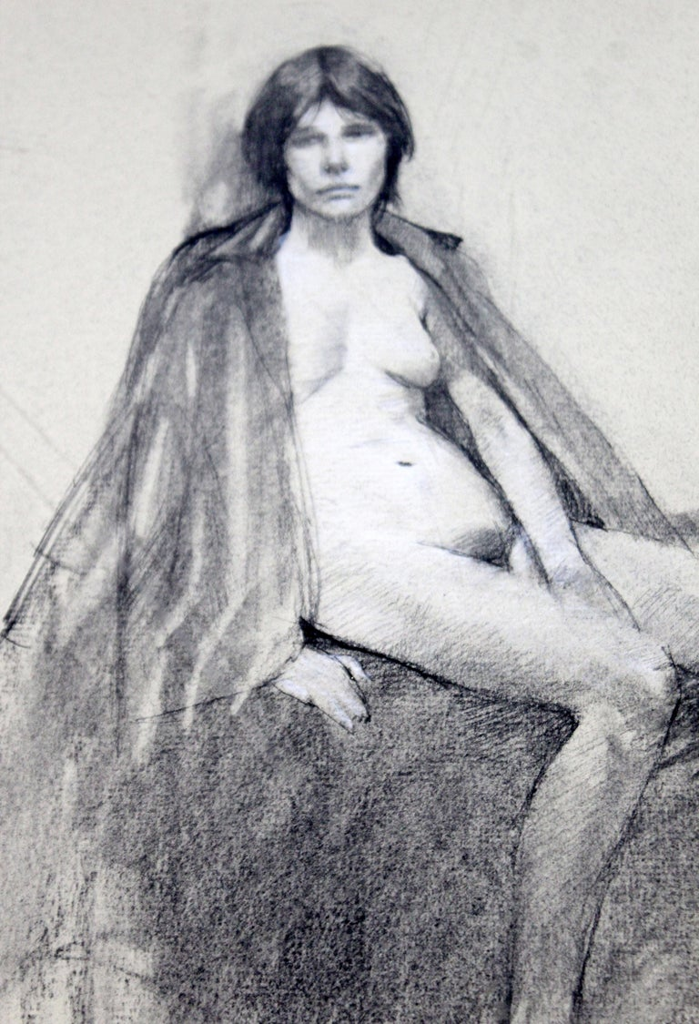 Late 20th Century Contemporary Modern Framed Charcoal Drawing Signed Burt Silverman 1982 Nude For Sale