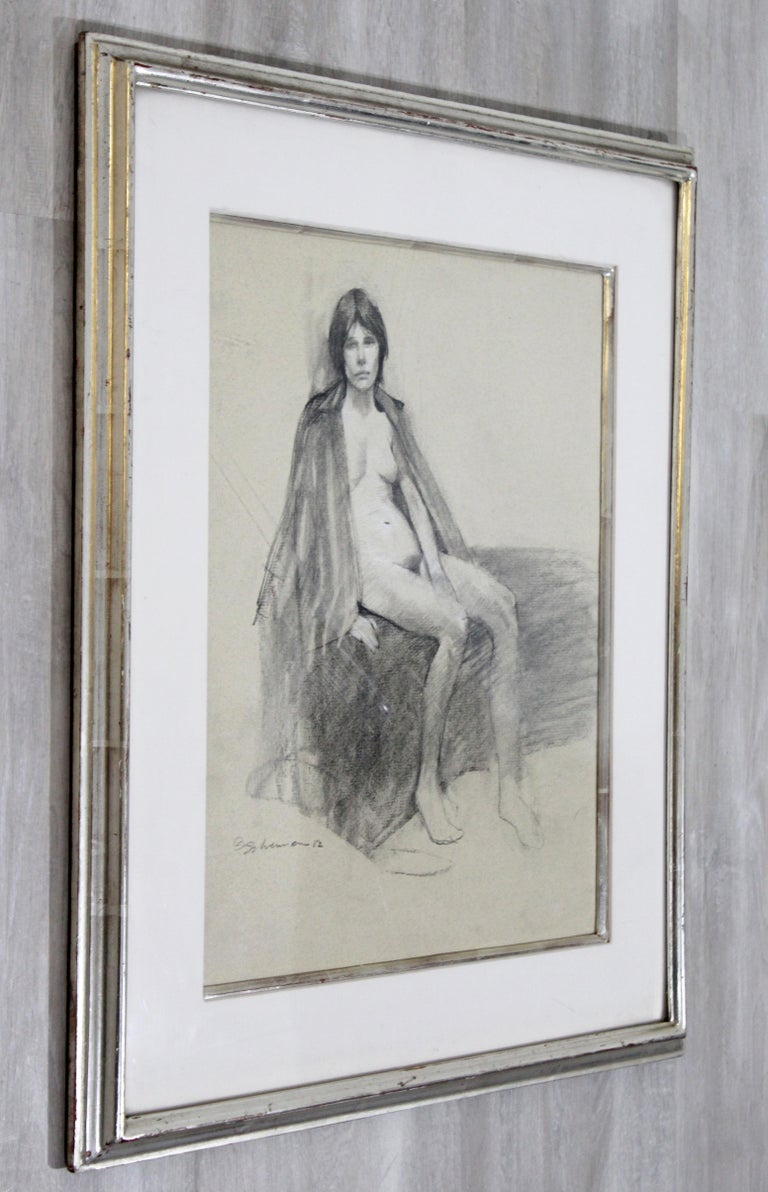 Contemporary Modern Framed Charcoal Drawing Signed Burt Silverman 1982 Nude For Sale 1