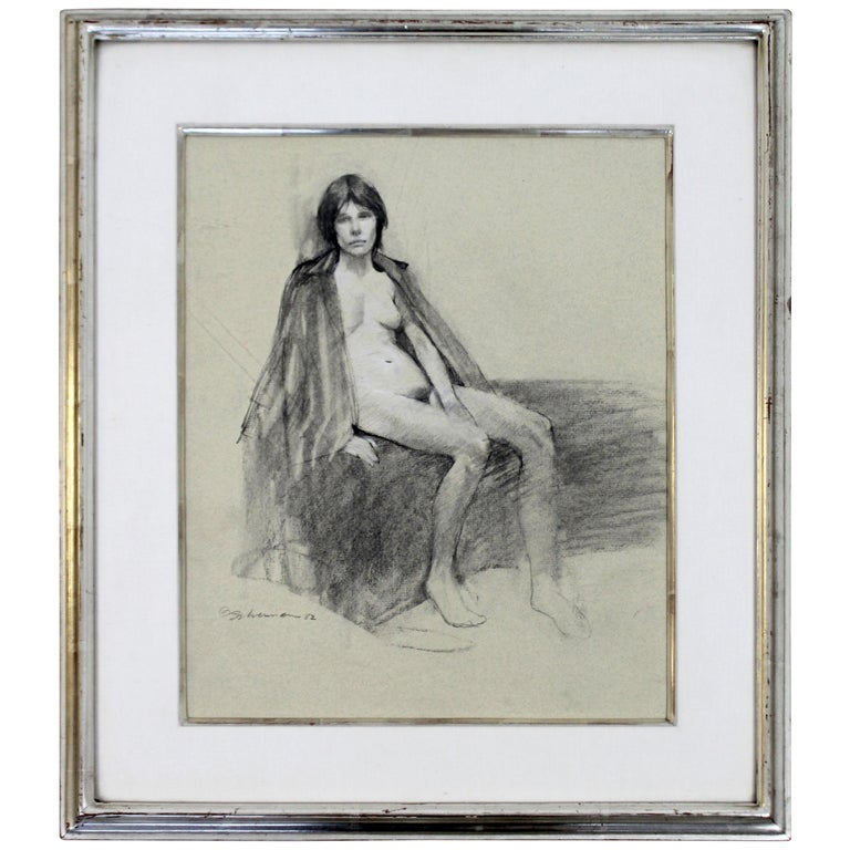 Contemporary Modern Framed Charcoal Drawing Signed Burt Silverman 1982 Nude For Sale