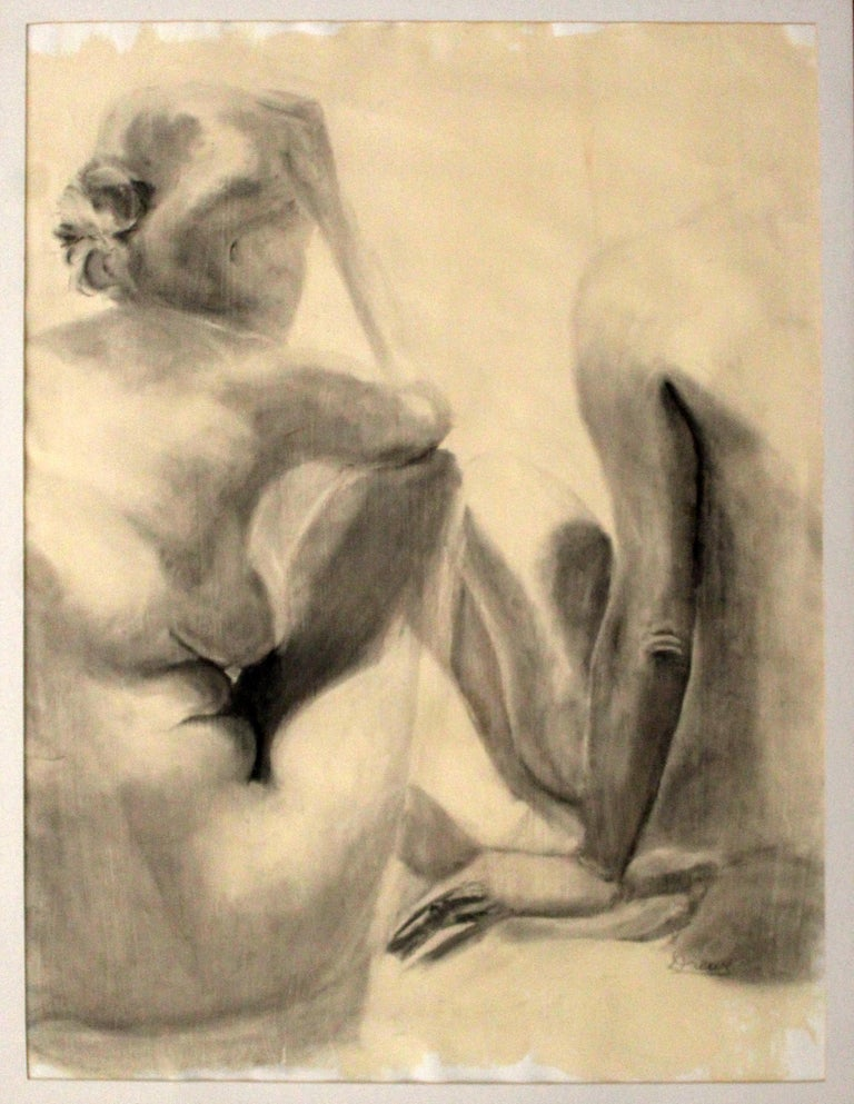 For your consideration is a lovely, framed, original charcoal drawing, of two seated nudes, signed Drewe. In excellent condition. The dimensions are 41