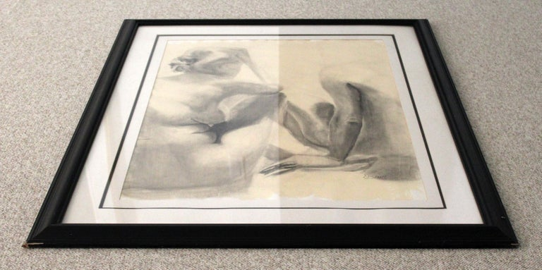 Contemporary Modern Framed Charcoal Drawing Signed Drewe Nude Figure Drawing In Good Condition For Sale In Keego Harbor, MI