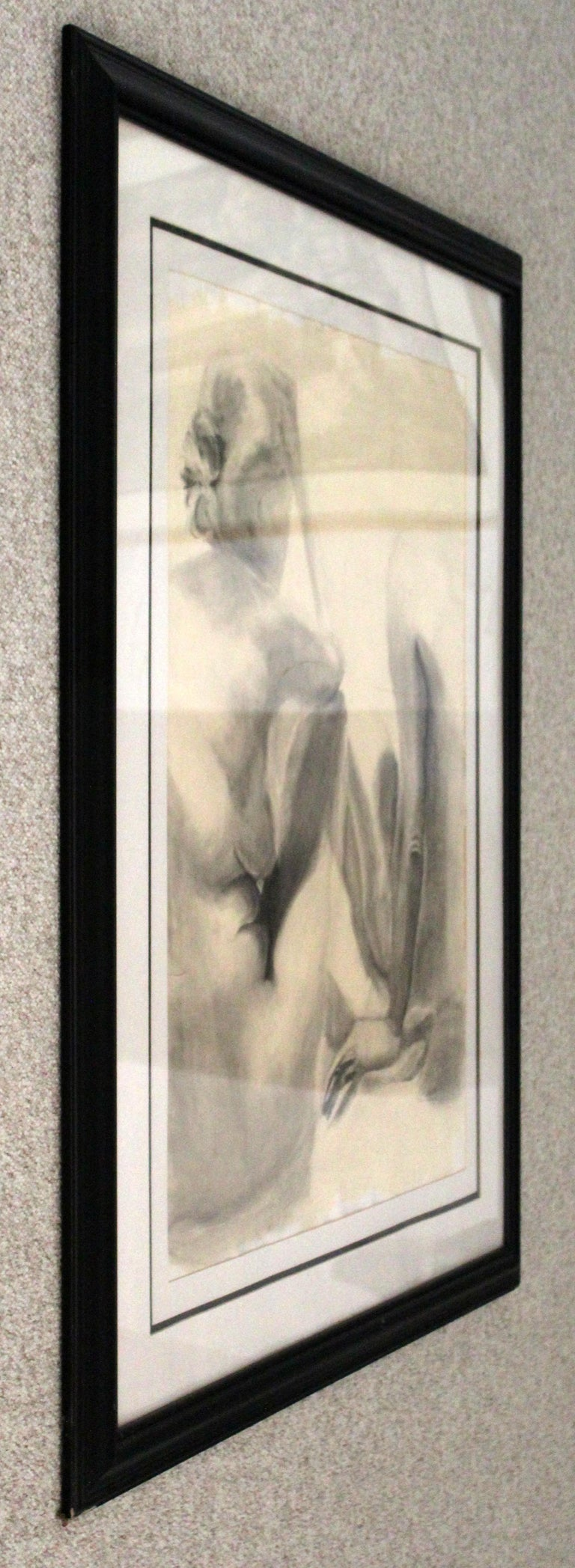 20th Century Contemporary Modern Framed Charcoal Drawing Signed Drewe Nude Figure Drawing For Sale