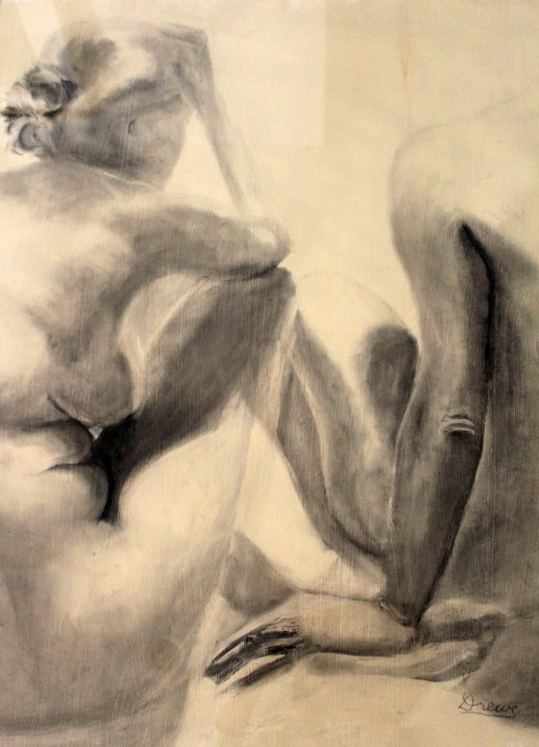 Paper Contemporary Modern Framed Charcoal Drawing Signed Drewe Nude Figure Drawing For Sale