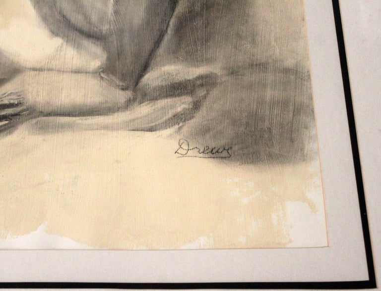 Contemporary Modern Framed Charcoal Drawing Signed Drewe Nude Figure Drawing For Sale 1